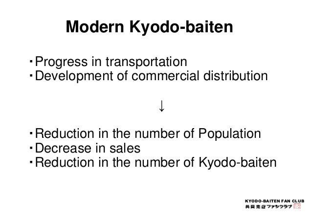 KYODO-BAITEN FAN CLUB  Modern Kyodo-baiten  ・Progress in transportation  ・Development of commercial distribution  ↓  ・Redu...
