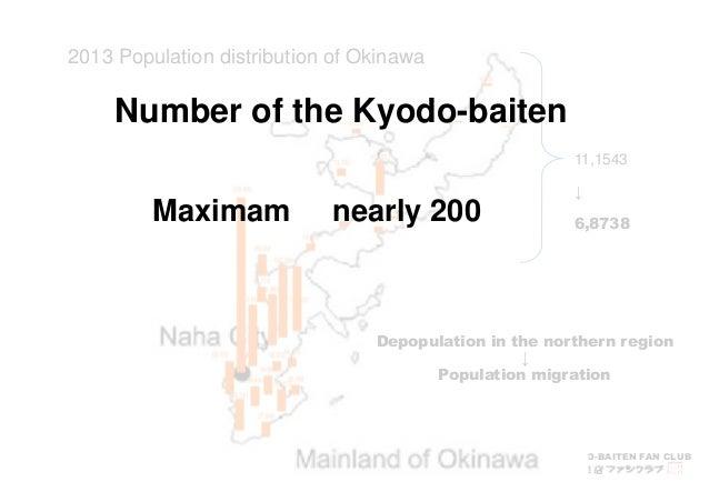 Number of the Kyodo-baiten  KYODO-BAITEN FAN CLUB  2013 Population distribution of Okinawa  11,1543  ↓  6,8738  Maximam ne...