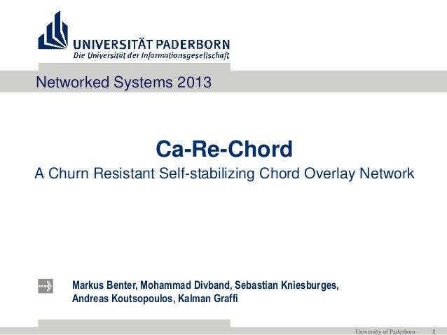 Markus Benter, Mohammad Divband, Sebastian Kniesburges, Andreas Koutsopoulos, Kalman Graffi University of Paderborn 1 Ca-R...