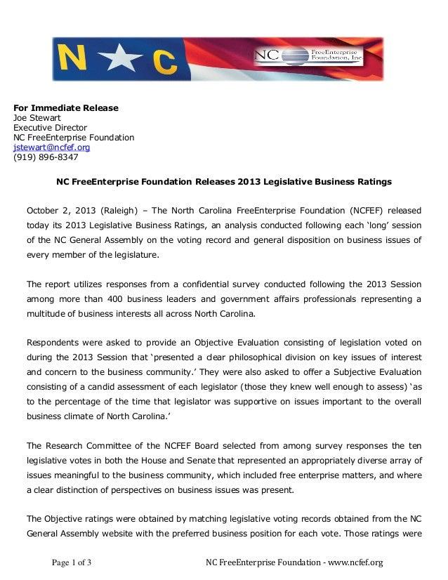 Page 1 of 3 NC FreeEnterprise Foundation - www.ncfef.org For Immediate Release Joe Stewart Executive Director NC FreeEnter...