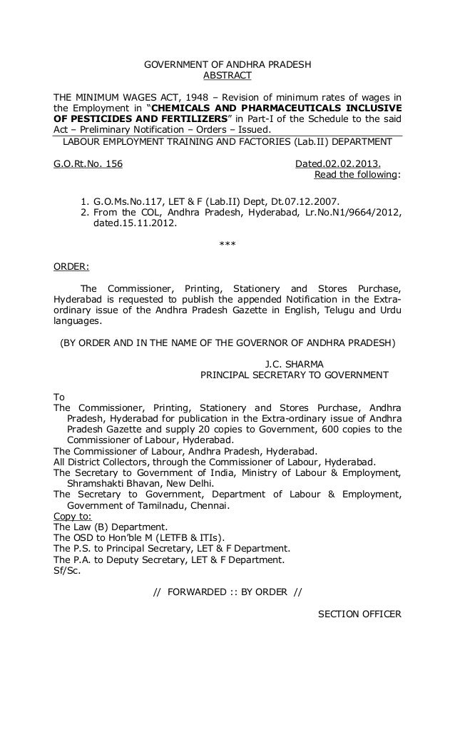 GOVERNMENT OF ANDHRA PRADESH ABSTRACT THE MINIMUM WAGES ACT, 1948 – Revision of minimum rates of wages in the Employment i...