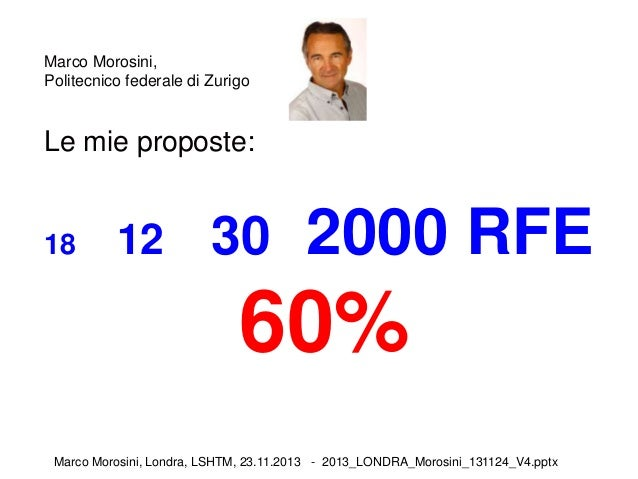 Marco Morosini, Politecnico federale di Zurigo  Le mie proposte:  18  12  30 2000 RFE  60% Marco Morosini, Londra, LSHTM, ...