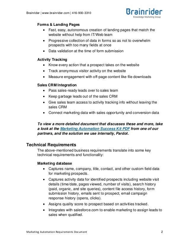 2013 marketing automation requirements template requirements document 1 2 flashek