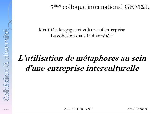 L'utilisation de métaphores au sein d'une entreprise interculturelle ème  7  colloque international GEM&L  Identités, lang...