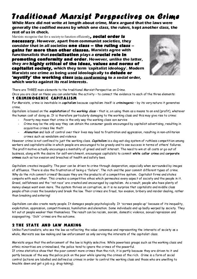 marxist essay on crime and deviance Sociology of crime and deviance all societies and social collectivities exercise social control: they expect their members to conform to certain normative expectations and punish, condemn, or reproach persons who fail to meet them.
