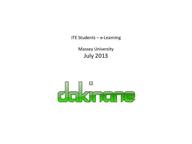 ITE Students – e-Learning Massey University July 2013