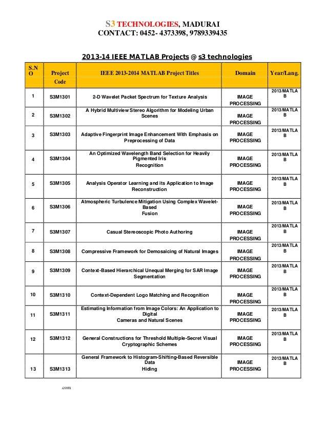 S3 TECHNOLOGIES, MADURAI CONTACT: 0452- 4373398, 9789339435 2013-14 IEEE MATLAB Projects @ s3 technologies S.N O  Project ...
