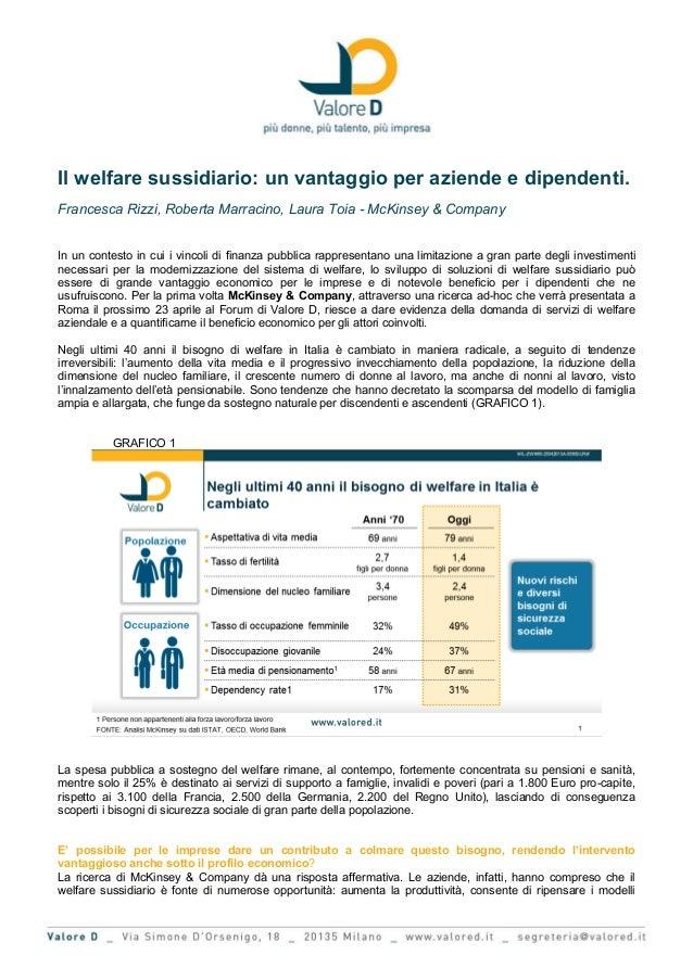 Il welfare sussidiario: un vantaggio per aziende e dipendenti.Francesca Rizzi, Roberta Marracino, Laura Toia - McKinsey & ...