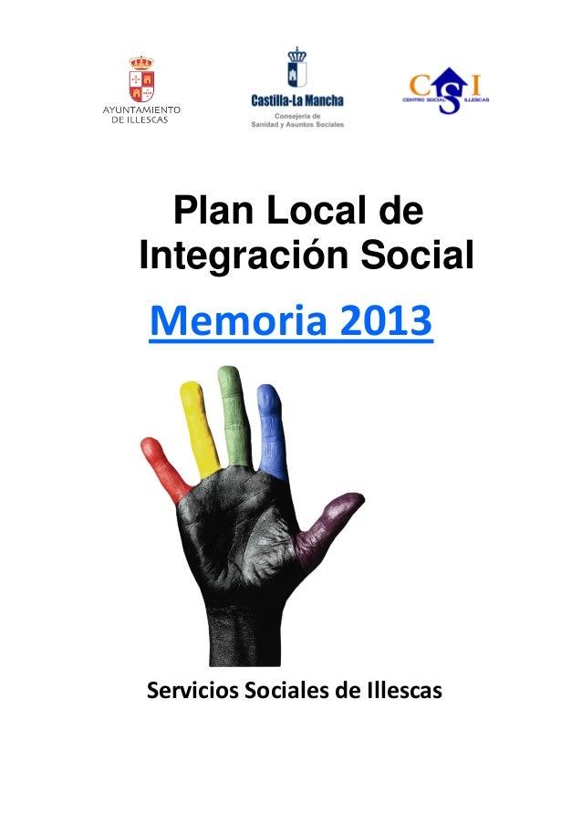 Plan Local de Integración Social  Memoria 2013  Servicios Sociales de Illescas