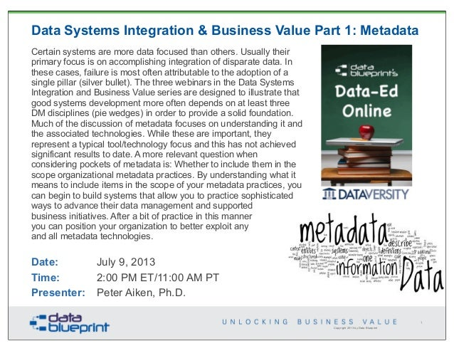 Copyright 2013 by Data Blueprint Data Systems Integration & Business Value Part 1: Metadata Certain systems are more data ...