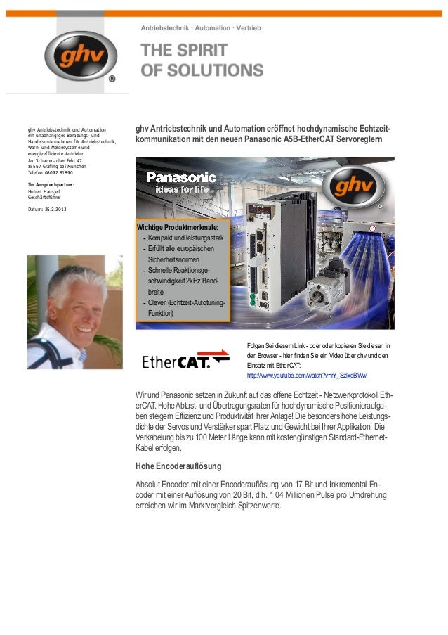 25.2.2013: ghv Antriebstechnik und Automation: Panasonic A5B-EtherCATghv Antriebstechnik und Automation        ghv Antrieb...