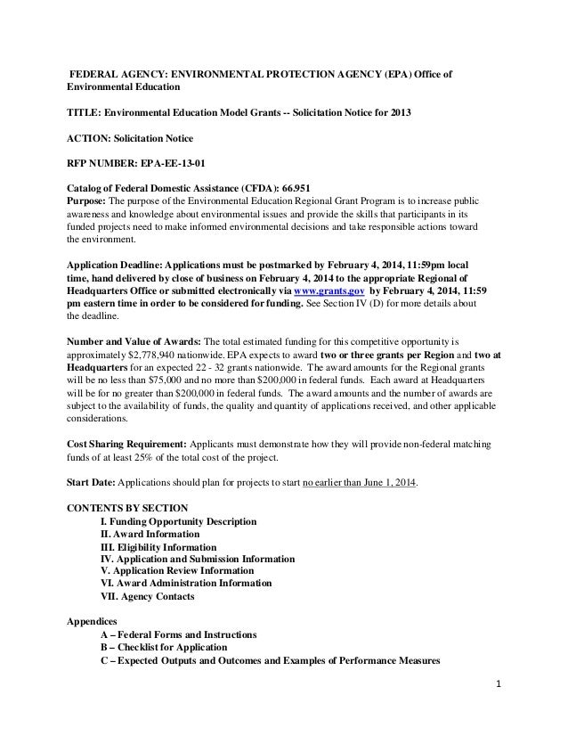 FEDERAL AGENCY: ENVIRONMENTAL PROTECTION AGENCY (EPA) Office of Environmental Education TITLE: Environmental Education Mod...