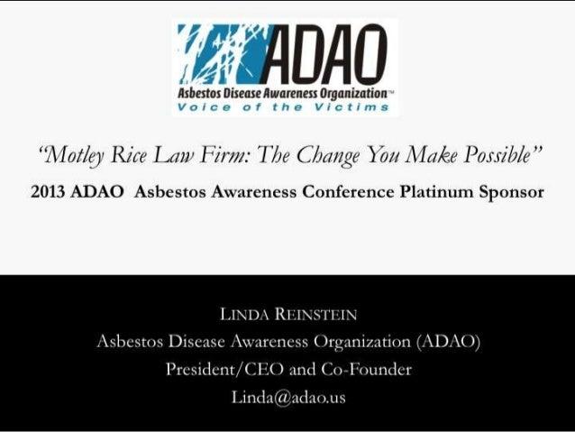 2013 ADAO Platinum Sponsor: Motley Rice Law Firm