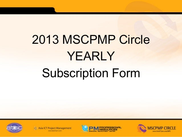 2013 MSCPMP Circle     YEARLY Subscription Form