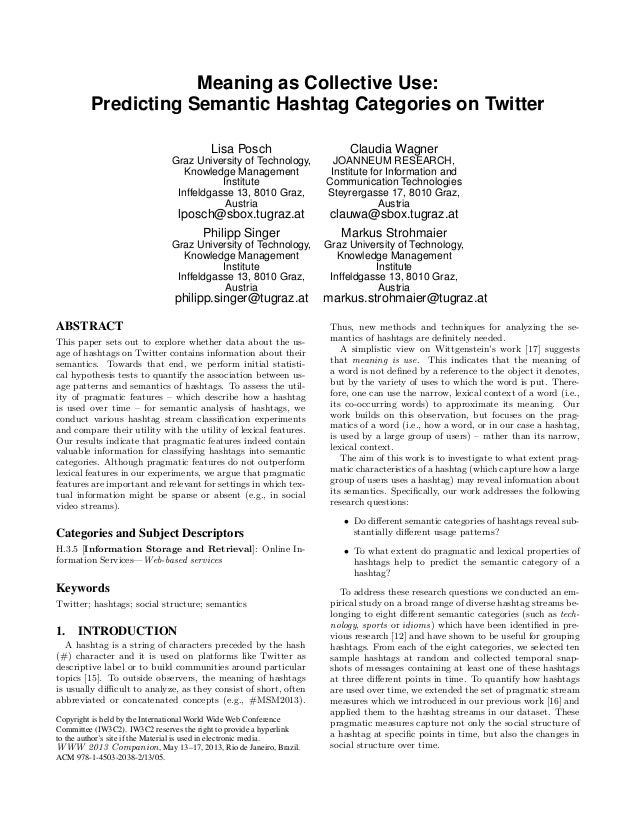 Meaning as Collective Use:         Predicting Semantic Hashtag Categories on Twitter                                      ...
