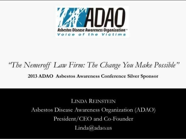 2013 ADAO Silver Sponsor: Nemeroff Law Firm