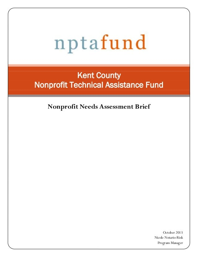 Kent County Nonprofit Technical Assistance Fund Nonprofit Needs Assessment Brief  October 2013 Nicole Notario-Risk Program...