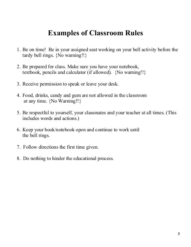teacher expectations examples
