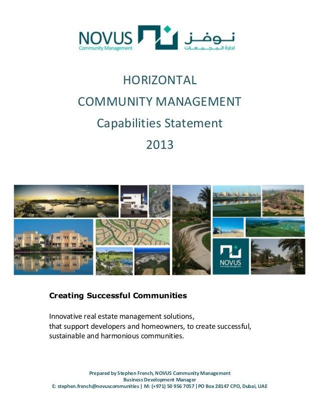 HORIZONTAL          COMMUNITY MANAGEMENT                  Capabilities Statement                                      2013...