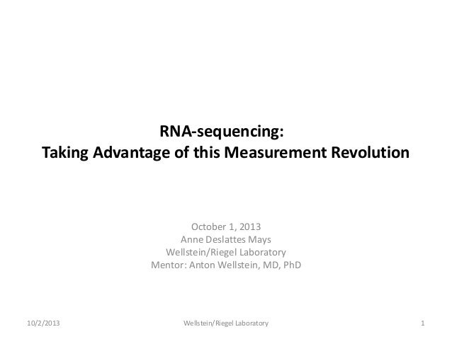 RNA-sequencing: Taking Advantage of this Measurement Revolution October 1, 2013 Anne Deslattes Mays Wellstein/Riegel Labor...