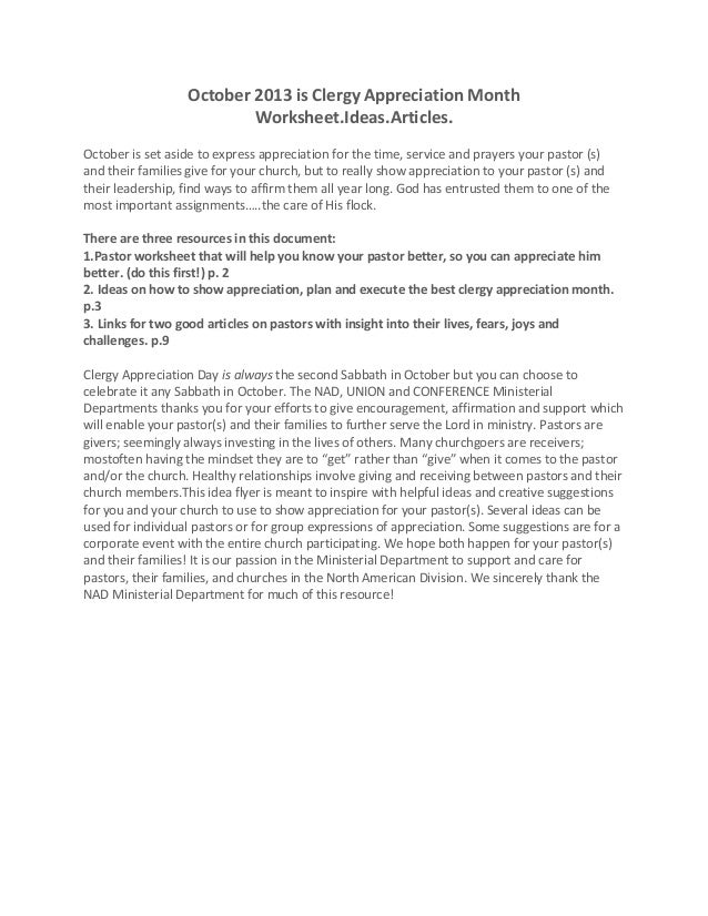 October 2013 is Clergy Appreciation Month Worksheet.Ideas.Articles. October is set aside to express appreciation for the t...