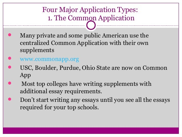 8 four major application - Writing The College Application Essay