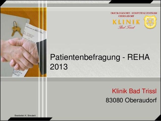 Patientenbefragung - REHA  2013  Klinik Bad Trissl  83080 Oberaudorf  Bearbeitet: K. Streubelt