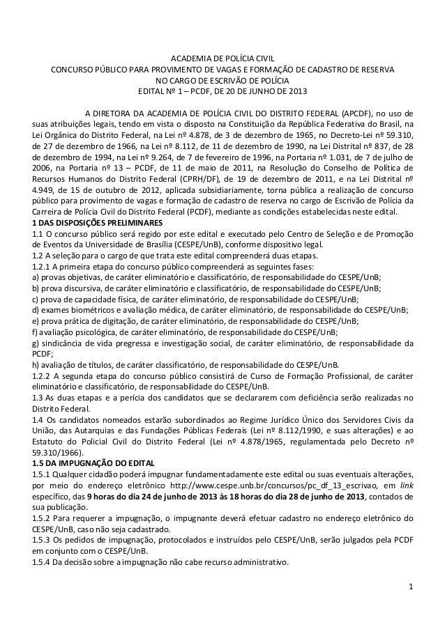 Edital Polícia Civil DF 2013