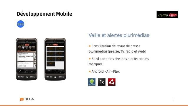 Développement MobileB2B                       Veille et alertes plurimédias                       • Consultation de revue ...