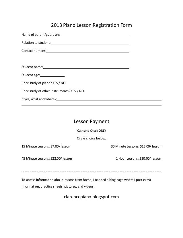 2013 piano lesson registration form. Black Bedroom Furniture Sets. Home Design Ideas