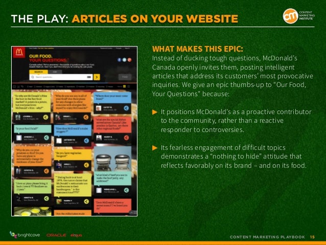 THE PLAY: Articles on Your Website What makes this epic:  Instead of ducking tough questions, McDonald's Canada openly inv...