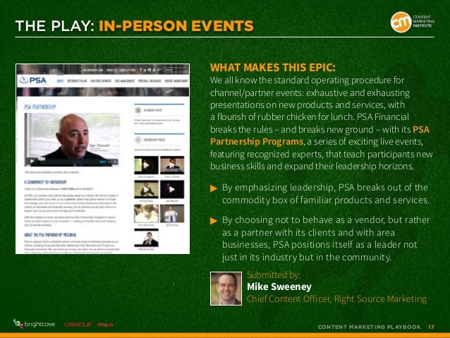 THE PLAY: In-Person Events What makes this epic:  We all know the standard operating procedure for channel/partner events:...