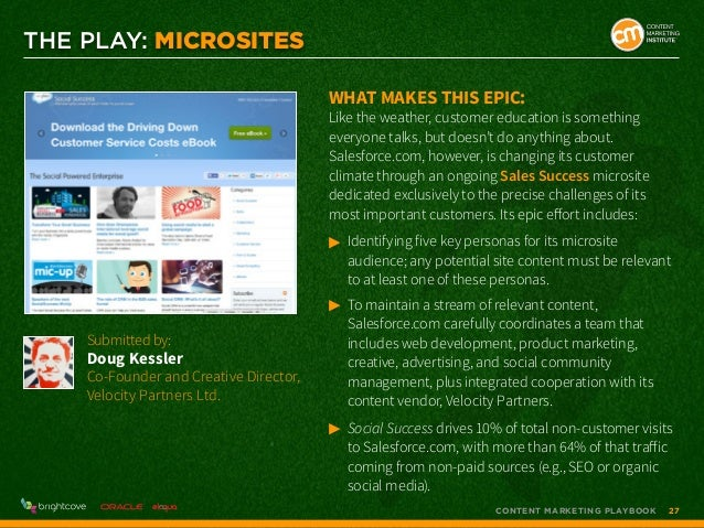 THE PLAY: MICROSITEs What makes this epic:  Like the weather, customer education is something everyone talks, but doesn't ...
