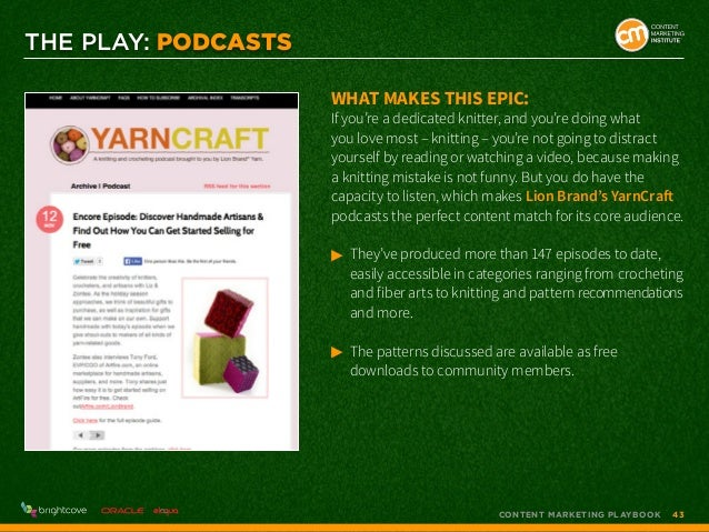 THE PLAY: PODCASTS What makes this epic:  If you're a dedicated knitter, and you're doing what you love most – knitting – ...