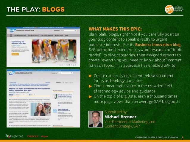 THE PLAY: blogs What makes this epic:  Blah, blah, blogs, right? Not if you carefully position your blog content to speak ...