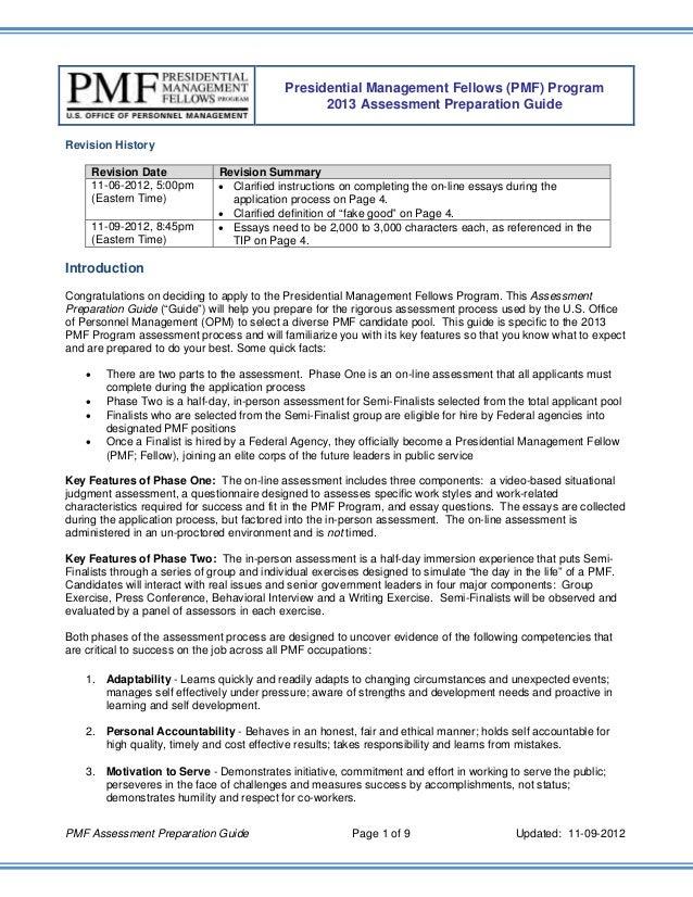 Presidential Management Fellows (PMF) Program                                                   2013 Assessment Preparatio...