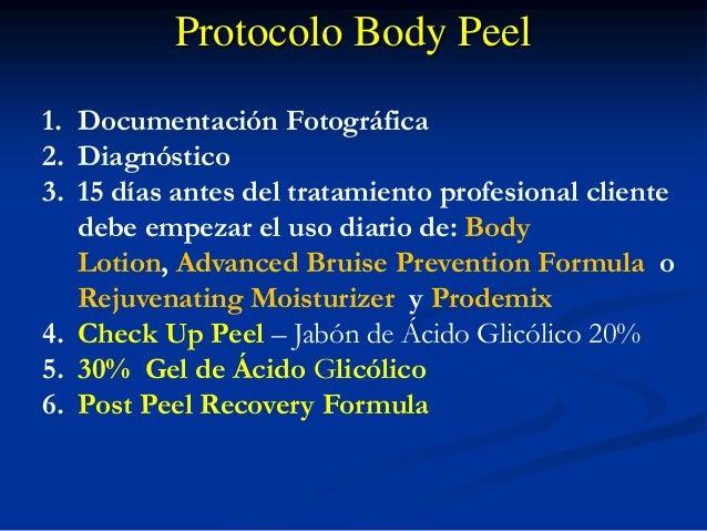 Protocolo Body Peel 1. Documentación Fotográfica 2. Diagnóstico 3. 15 días antes del tratamiento profesional cliente 1. Ch...