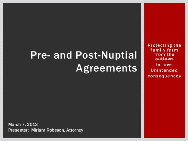 2013 Pre And Post Nuptial Agreements