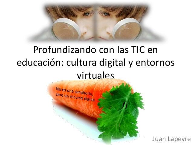 Profundizando con las TIC en educación: cultura digital y entornos virtuales Juan Lapeyre