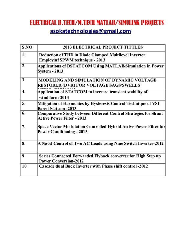 M Tech/B tech Matlab/Simulink IEEE based 2013 Electrical