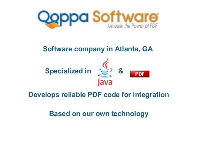 Software company in Atlanta, GA Specialized in  &  Develops reliable PDF code for integration Based on our own technology