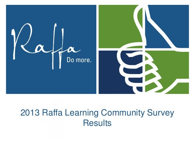 2013 Raffa Learning Community Survey Results