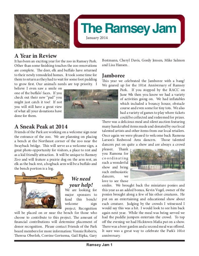 Volume 2, Issue 1  2012 Current Members  The Ramsey Jam January 2014 December 2012  Thank you for your membership!  Gwen B...