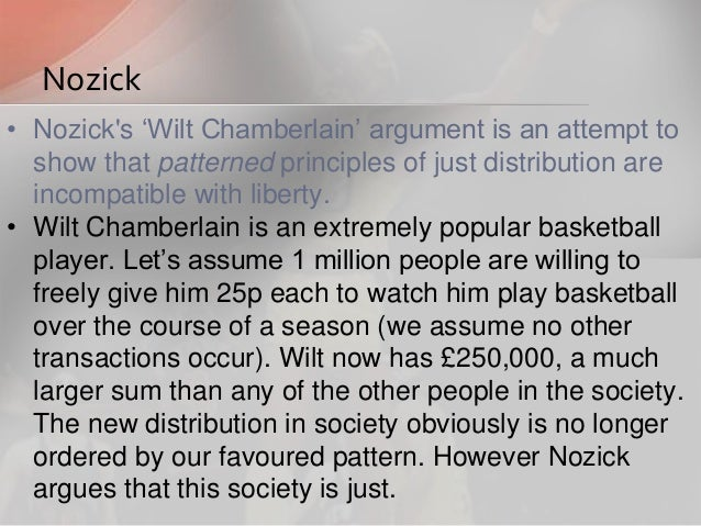 nozicks wilt chamberlain argument Nozick's conclusion looks devastat- ing: 'the general point illustrated by the wilt  chamberlain example    is that no end-state principle or distributional pat.
