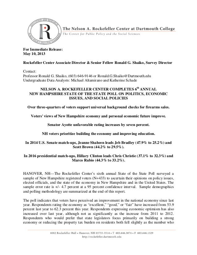 For Immediate Release:May 10, 2013Rockefeller Center Associate Director & Senior Fellow Ronald G. Shaiko, Survey DirectorC...