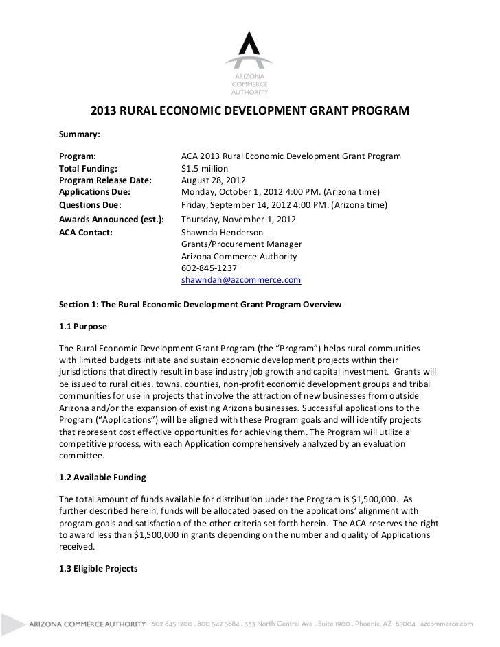 2013 RURAL ECONOMIC DEVELOPMENT GRANT PROGRAMSummary:Program:                         ACA 2013 Rural Economic Development ...