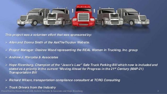 2013 Jason's Law Safe Truck Parking and Focus Group Presentation Slide 2