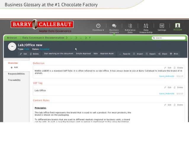 Business Glossary at the #1 Chocolate Factory