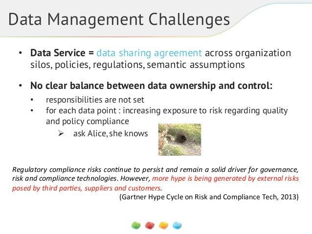 Data Management Challenges • Data Service = data sharing agreement across organization silos, policies, regulations, sema...