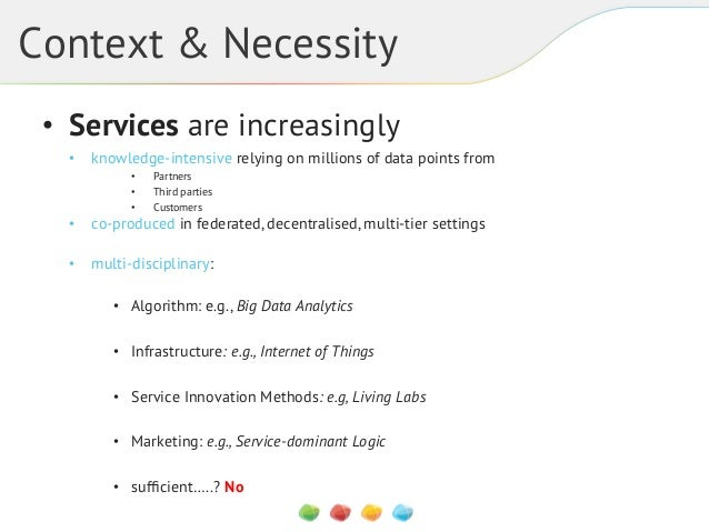 Context & Necessity • Services are increasingly • knowledge-intensive relying on millions of data points from • • •  ...